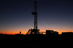 Oil rig. In a dusk Stock Photography