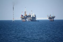 Oil rig. The oil rig - offshore well Royalty Free Stock Images