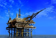 Oil Rig. Dabycha oil into the sea from above royalty free illustration