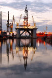 Oil Rig. In the Gdansk Repair Yard stock photography