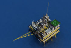 Oil Rig. Dabycha oil into the sea from above stock illustration