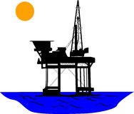 Oil rig. Oil platform in the middle of sea, under the sun Royalty Free Stock Photos