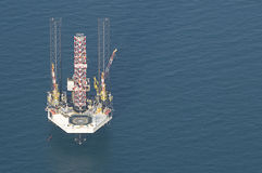Oil rig. Aerial picture of an offshore oil rig Stock Photos