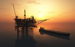 Oil Rig. Dabycha oil into the sea from above vector illustration