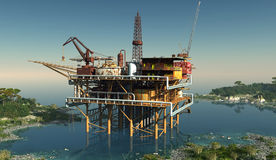 Oil Rig. Oil production in the lagoon royalty free illustration