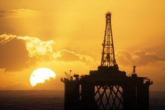 Oil rig. An offshore oil rig platform Royalty Free Stock Image