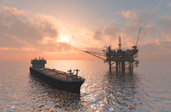Oil Rig. Oil production into the sea from above stock illustration