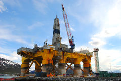 Oil rig. The Polar Pioneer oil drilling rig docked in Tromsø, Norway Stock Photo