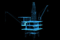 Oil rig (3D xray blue) Royalty Free Stock Photos