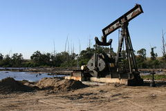Oil Rig. A decomissioned oil well at the beginning of the reclamation of Bolsa Chica Wetlands 2005 Stock Image