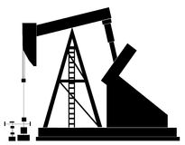 Oil rig. Black silhouette of an oil pump - vector illustration royalty free illustration