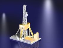 Oil rig award by gold Royalty Free Stock Photo
