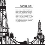 Oil rig banner for your text. Royalty Free Stock Images