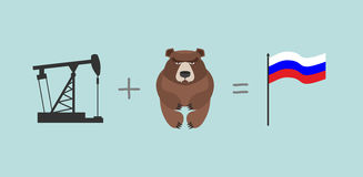 Oil rig and   bear. Symbols Russia.  Flag Of Russia. Vector illu Stock Photography