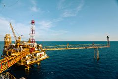 Offshore Oil Rig in The Middle of The Sea Stock Photos