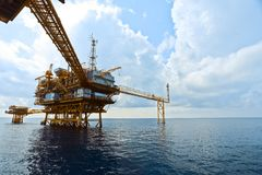 Offshore Oil Rig in The Middle of The Sea Stock Image