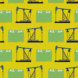 Oil rig and a bundle of money seamless pattern. Vector rich back Stock Photos