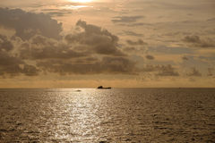 An oil rig cargo tender ship outbound from the Florida Keys in t Royalty Free Stock Photo