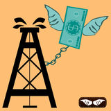 Oil rig chained to dollar bill with wings. Royalty Free Stock Photo