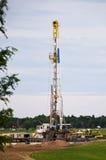 Oil rig in a cornfield Stock Photo