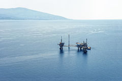 Oil rig, drilling platform, aerial view Stock Image