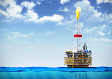 Oil rig drilling platform. 3d illustration of sea oil rig drilling platform on cross section of water surface on backround of cloudy sky Royalty Free Stock Images