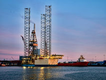 Oil rig in Esbjerg harbor, Denmark Royalty Free Stock Photography