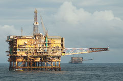 Oil rig field Royalty Free Stock Image