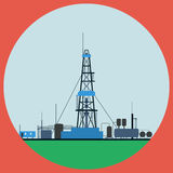 Oil rig flat vector illustration Stock Image