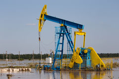Oil rig. Flooded in romania stock image