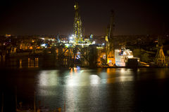 Oil Rig at night Malta Stock Photos