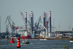 Oil rig in the harbour - &amsterdam Royalty Free Stock Images