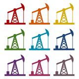 Oil Rig Icon, Oil pump jack icons set Stock Images