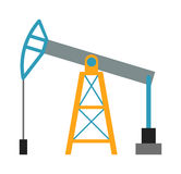 Oil rig industry business concept of derrick production fuel distribution and transportation flat vector illustration. Stock Images