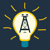 Oil rig in a light bulb. Royalty Free Stock Photography