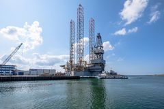 Oil rig for maintenance in the seaport of IJmuiden. stock images