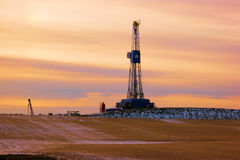 Oil Rig. An oil rig near New Town North Dakota in the Winter stock images