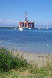 Oil Rig Near Shore stock photos