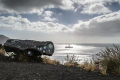 An oil rig near the shore at Las teresitas, Tenerife, Canary islands. royalty free stock image