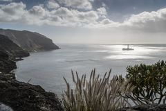 An oil rig near the shore at Las teresitas. Tenerife, Canary islands stock photos