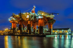 Oil Rig at night Stock Photography
