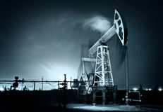 Oil Rig at night. Siberia. Stock Photo