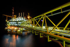 Oil rig at night with twilight background Royalty Free Stock Photography