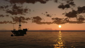 Oil Rig in Ocean, time lapse clouds at sunset, helicopter view, stock footage