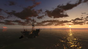 Oil Rig in Ocean, time lapse clouds at sunset, stock footage stock footage