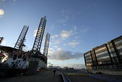 Oil rig and office building royalty free stock photography