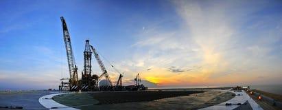 Oil rig panoramic. Image at sunrise Stock Photo