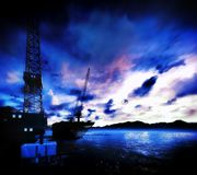 Oil rig  platform. With awesome sky Stock Image