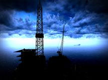 Oil rig  platform. In arctic sea Royalty Free Stock Photo