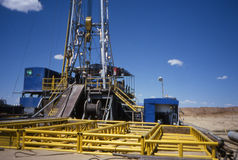Oil rig platform. Working oil rig in the oil patch of North Dakota Stock Photography